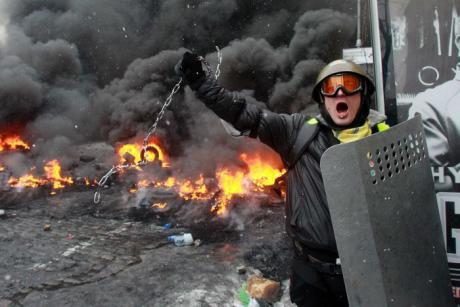 Neo-Nazis and far-right protesters in Ukraine