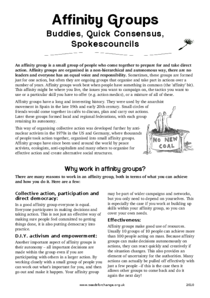 Affinity Groups pamphlet from Seeds For Change