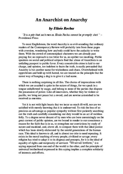 An Anarchist on Anarchy, by Elisée Reclus