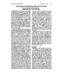 Sociologies of knowledge as rhetorical strategies-by Deena Weinstein and Michael Weinstein