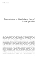 PostModernism or the Cultural Logic of Late Capitalism- Frederic Jameson